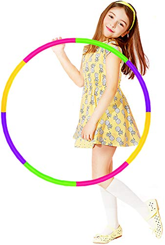 HAFUZIYN Kids Hoola Hoop, Detachable Adjustable Weight Size Plastic Colorful Hoola Hoop Toy Suitable for Bodybuilding, Gymnastics, Dance, Lose Weight, Playing…