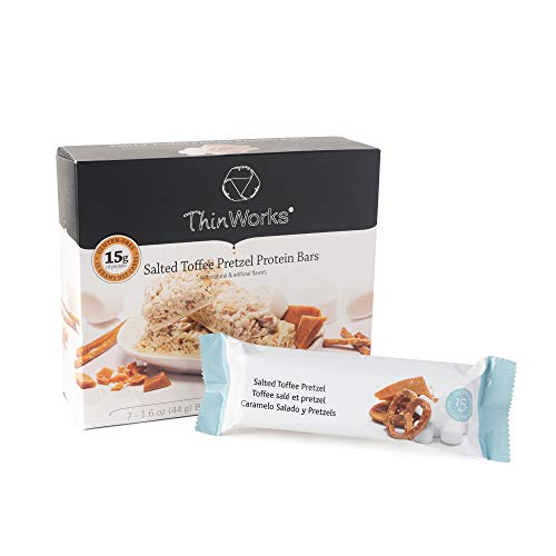 ThinWorks Salted Toffee Pretzel Low-Carb Protein Bars, Low-Calorie Snacks for Weight Loss and Healthy Meals