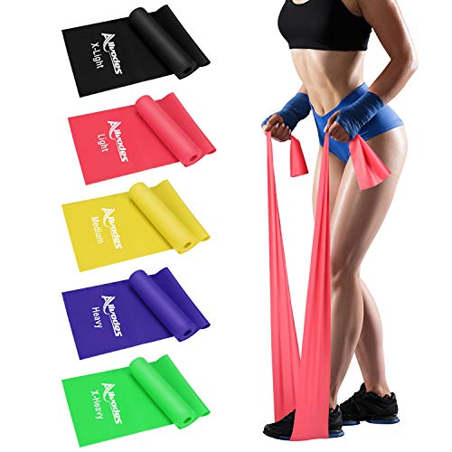 Allvodes Resistance Bands Set, 5 Pack Latex Exercise Bands with 5 Resistance Levels, Skin-Friendly Elastic Bands with Carrying Pouch for Home Workout, Strength Training, Yoga, Pilates