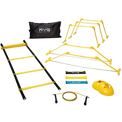 Raise Your Game Agility Ladder Speed Training Set- RYG 8 Cones, 5 Hurdles, Resistance Bands, Exercise for Soccer, Football, Track Field, Basketball, Footwork, Workout Drills, Hockey
