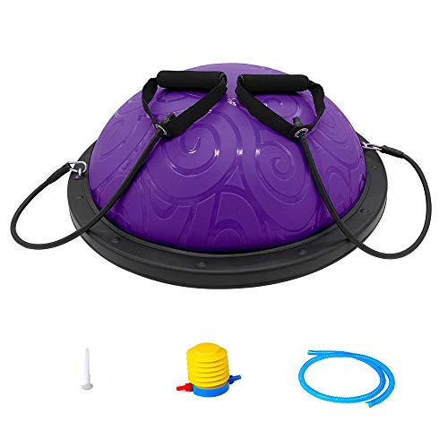 ATIVAFIT Half Ball Balance Trainer with Straps Yoga Balance Ball Anti Slip for Core Training Home Fitness Strength Exercise Workout Gym Purple