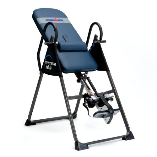 IRONMAN Gravity Highest Weight Capacity Inversion Table with Optional No Pinch AIRSOFT Ankle Holder, (l x w x h):49.00 x 26.00 x 65.00 in, 5402