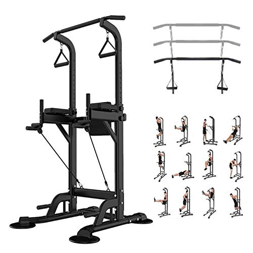Leasbar Power Tower Dip Bar Station Pull Up Bar Stand for Home Gym Adjustable Strength Training Fitness Equipment 330 LBS with Backrest