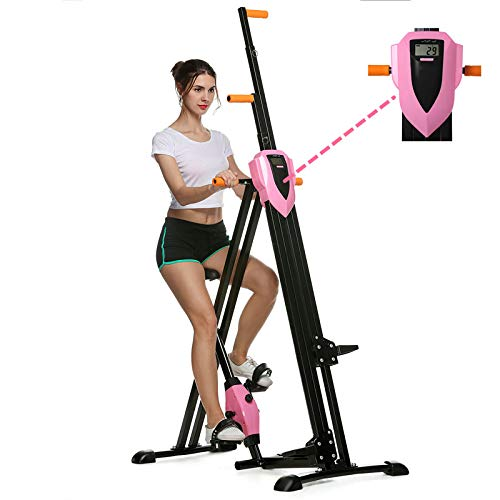 Flyerstoy Vertical Climber Cardio Exercise - Folding Exercise Climbing Machine,Total Body Workout Climber Machine for Home Gym, Exercise Bike for Home Body Trainer (Pink)