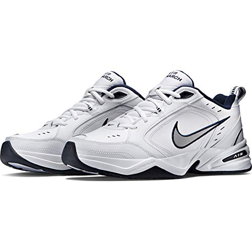 Nike Men's NIKE AIR MONARCH IV (4E) RUNNING SHOES -11;   White / Metallic Silver-Midnight Navy