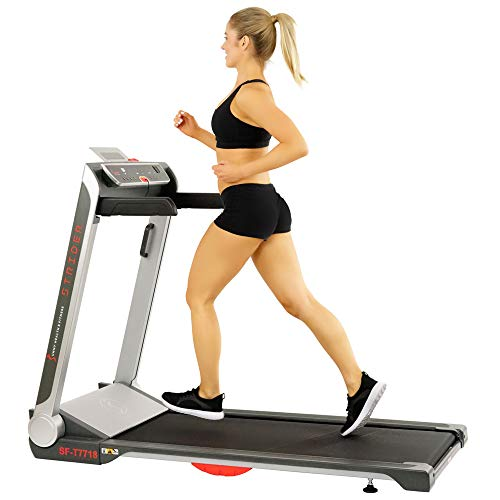 Sunny Health & Fitness Electric Slim Folding Running Treadmill with Wide Belt, Tablet Holder, Speakers, 250 LB Max Weight, No Assembly - Strider, SF-T7718,Black