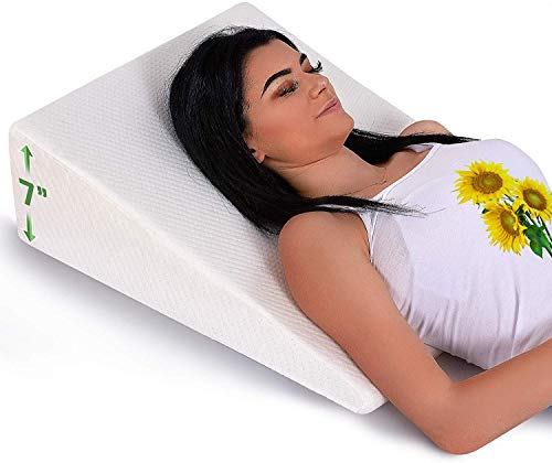 Bed Wedge Pillow with Memory Foam Top - Reduce Neck & Back Pain, Anti Snoring, Acid Reflux, Respiratory Problems - Pillow Wedge for Sleeping, Reading, Rest, Elevation - Wedge for Bed - Washable Cover