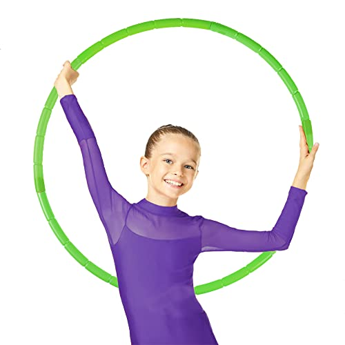 NEOWEEK Exercise Hoop for Kids, Detachable Adjustable Size Kids Exercise Hoop, Suitable for Girls, Boys and Pet Training (Green)