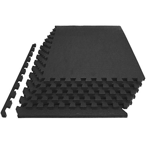 'ProsourceFit Extra Thick Puzzle Exercise Mat 1'', EVA Foam Interlocking Tiles for Protective, Cushioned Workout Flooring for Home and Gym Equipment, Black' (ps-2294-hdpm-black)