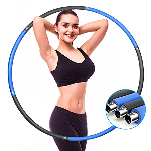 Weighted Hoola Hoops for Exercise – High quality Soft Padded weighted hula hoops for adults weight loss, Detachable 8 Sections Design Fitness Workout Routine for Building Strength