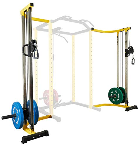 HulkFit Cable Crossover Attachment Multi-Function Adjustable Power Cage, 1000-Pound Capacity