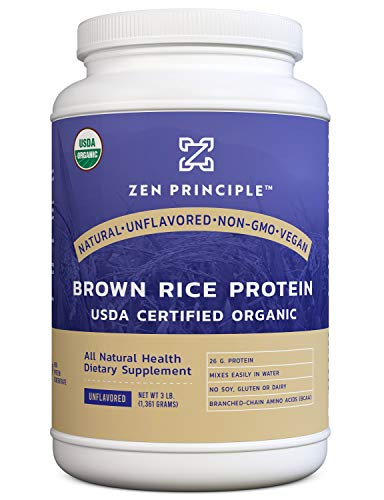 Organic Brown Rice Protein 3 LB. USDA Certified Organic. Unflavored. 26 G. Protein Per Serving. Non-GMO. No Soy, Gluten or Dairy. Natural. Vegan. Ultra-fine Powder Mixes Easily in Drinks.