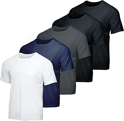 Men's Quick Dry Fit Dri-Fit Short Sleeve Active Wear Training Athletic Essentials Crew T-Shirt Fitness Gym Wicking Tee Workout Casual Sports Running Undershirt Top - 5 Pack,Set 4-S