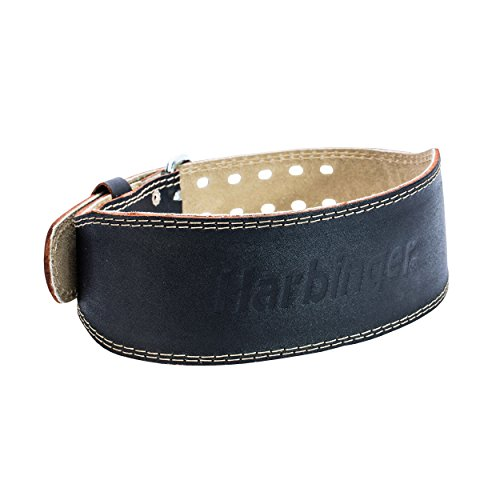 Harbinger 361071  Padded Leather Contoured Weightlifting Belt with Suede Lining and Steel Roller Buckle, 4-Inch, Medium,Black