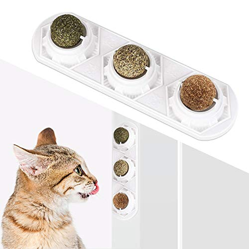 WoLover Catnip Wall Ball Toys – Rotatable Cat Snack Edible Balls with Natural Healthy Catnip | Silvervine | Gall Nut, Kitten Playing Chewing Cleaning Teeth Toy
