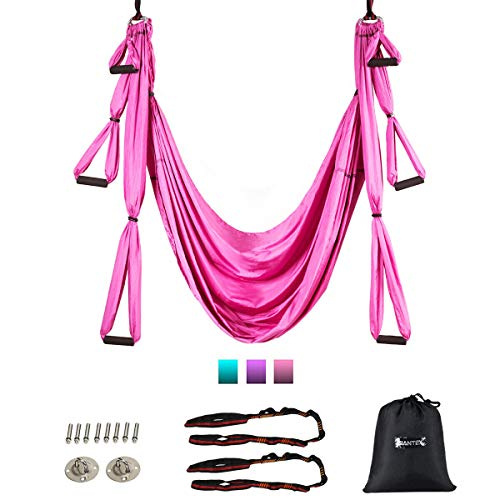 Goplus Aerial Yoga Swing Set, Antigravity Ceiling Hanging Toga Sling with Three Different Lengths of Handle, Yoga Swing/Sling/Inversion Tool, Yoga Hammock (Pink)