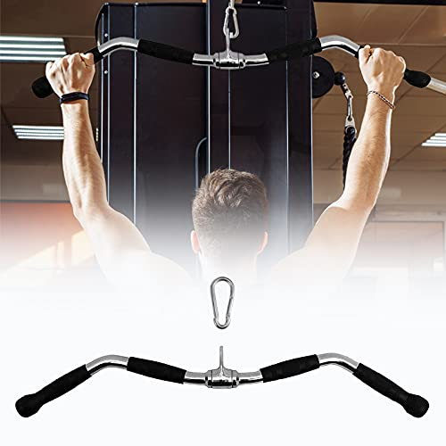WOOSL Pulldown Cable Machine Attachment,LAT Pulldown Bar Curl Tricep Press Down Bar with Rotation & Rubber Handle, LAT Pull Down Weight Machine Accessories for Pulley System, Home Gym
