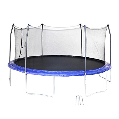Skywalker Trampolines 17' Oval Trampoline with Enclosure and Wind Stakes – Blue