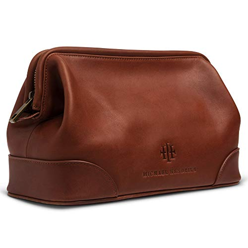 "Executive Leather Toiletry Bag for Men, Large 11"" – Leather Dopp Kit for Men - Wash Bag, Shaving Kit, Toiletries, Grooming Supplies, Gift, Travel Mens Leather Toiletry Bag - Real Genuine Brown Leather"