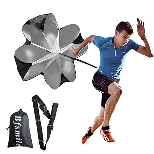 Bfsmile Running Speed Training 56' Parachute with Adjustable Strap, Free Carry Bag. Speed Chute Resistance Running Parachute for Kids Youth and Adults (1 Umbrella)