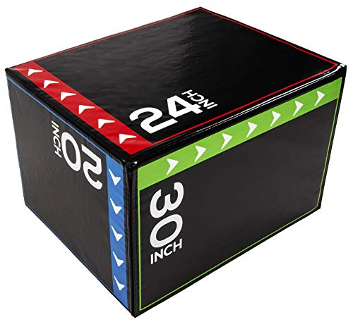 BalanceFrom 3 in 1 20 Inch 24 Inch 30 Inch Foam Plyometric Box Jumping Exercise (Regular, 16 Pounds)