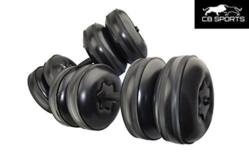 2019 CB Sports Adjustable Water Travel Dumbbells - Heavy Weight Upto 50lb/22kg + Free Extension Pole - Portable Dumbbells - Home Gym Workout Equipment (Set of 2) - Fill with Water - Black