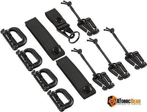 The Atomic Bear Molle Kit of 11 Attachments for 1 inch Molle Webbing Bags, Tactical Backpacks & Vests