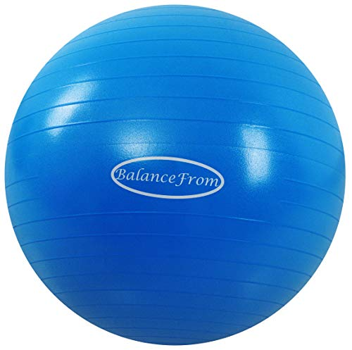 BalanceFrom Anti-Burst and Slip Resistant Exercise Ball Yoga Ball Fitness Ball Birthing Ball with Quick Pump, 2,000-Pound Capacity, Blue, 38-45cm, S