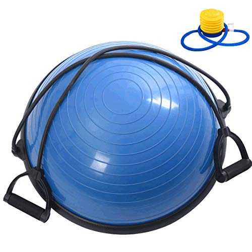 Giantex 23' Half Yoga Ball Balance Trainer, Heavy Duty Stability Exercise Fitness Trainer Ball Support 660 lbs, for Office, Gym, Home, Yoga Exercise Ball with Resistance Bands & Pump (Blue)