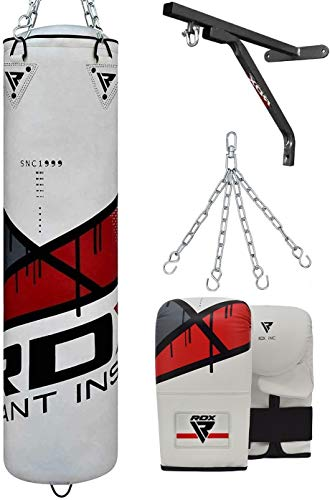 RDX Punching Bag Filled Set Muay Thai Training Gloves with Punch Mitts Hanging Chain Wall Bracket, Great for MMA, Kick Boxing, Martial Arts, 4PC Available in 4FT 5FT