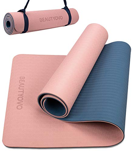 Yoga Mat with Strap, 1/3 Inch Extra Thick Yoga Mat Double-sided Non Slip, Professional TPE Yoga Mats for Women Men, Workout Mat for Yoga, Pilates and Floor Exercises