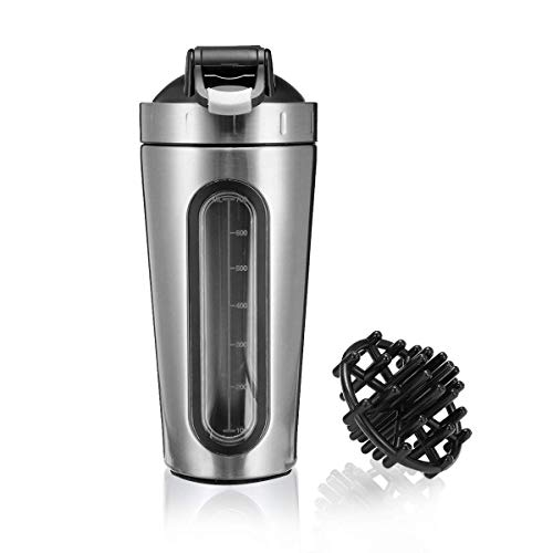 Slimerence Protein Shaker Bottle 700ml Stainless Steel Shaker Cup Sports Mixer Water Bottle with Visible Window Leak Proof Gym Workout Fitness (Renewed)