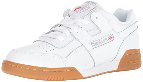 Reebok Men's Workout Plus Cross Trainer, White/Carbon/Classic red, 12 M US