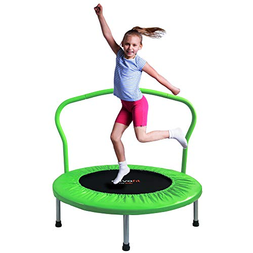 ATIVAFIT 36-Inch Folding Trampoline Mini Rebounder,Suitable for Indoor and Outdoor use, for Two Kids with safty Padded Cover Green
