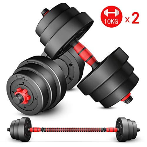 10KG X 2 Dumbbell Set with Adjustable Weights - Weight Set for Weightlifting and Body Building Hex Rubber Weights Workout Dumbbells Set Metal Ergonomic Handles Prevent Rolling and Injury for Home Gym