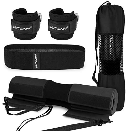 bridawn Barbell Pad Set for Squats Hip Thrusts Upgraded Bar Neck Pads Workout Foam Weightlifting Cushion with 2 Gym Ankle Straps Hip Resistance Band Fits Standard Olympic Bars with a Carry Bag