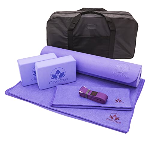 Gift for Women - Yoga Mat Set 7PC for Her - 1 Yoga Exercise Mat, Yoga Mat Towel, 2 Yoga Blocks, Yoga Strap, Yoga Hand Towel, Free Carry Case Birthday Gift for Wife, Mom, Aunt, Sister and Daughter