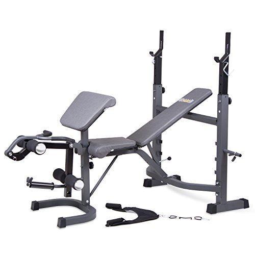 Body Champ Olympic Weight Bench with Preacher Curl, Leg Developer and Crunch Handle, Dark Gray/Black BCB5860