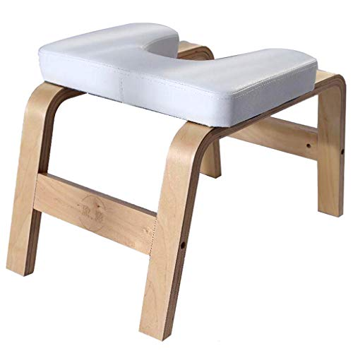 DLT White Wooden Headstand Bench Yoga Chair, Oak Yoga Chair Bench Inversion Tool Fitness, Balanced Body Headstand Stool Ideal Chair, Original Headstander,Yoga Inversions Equipment