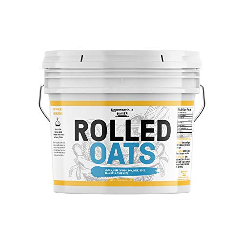 Rolled Oats, 1 Gallon Bucket by Unpretentious Baker, Highest Quality, Old Fashioned Oats, Whole Grain, Naturally Nutritious, Vegan, Excellent Source of Fiber