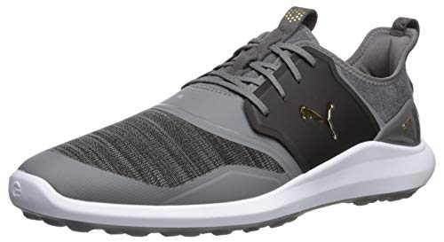 Puma Golf Men's Ignite Nxt Lace Golf Shoe, Quiet Shade-Puma Team Gold-Puma Black, 10.5 M US