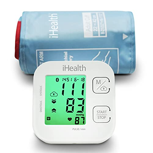 iHealth Track Smart Upper Arm Blood Pressure Monitor, Adjustable Cuff Large Arm Friendly, Bluetooth Blood Pressure Machine, App-Enabled for iOS & Android