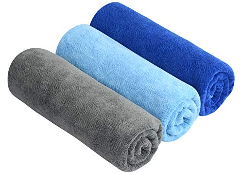 SINLAND Microfiber Gym Towels Workout Sports Fitness Sweat Towel Fast Drying 3 Pack 16 Inch X 32 Inch