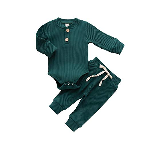 Newborn Baby Boy Girl Clothes Ribbed Knitted Cotton Long Sleeve Romper Long Pants Solid Color Fall Winter Outfits (A- Green, 0-3 Months)
