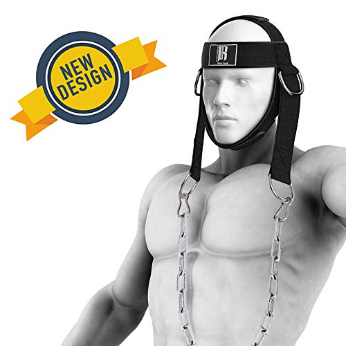 RIMSports Neck Harness for Weight Training, Ideal Neck Exercise Equipment for Neck Workout, Resistance Training, Weight Lifting, Adjustable Head Harness with Heavy-Duty Steel Chain and Double-D Rings