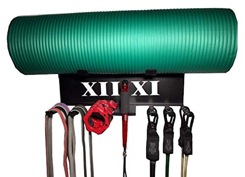 XII:XI Fitness Gym Storage Exercise Band Rack. American Made Resistance Bands Rack, Lifting Belt and Jump Rope Storage, Yoga Mat and Foam Roller Holder, Home Gym Equipment.
