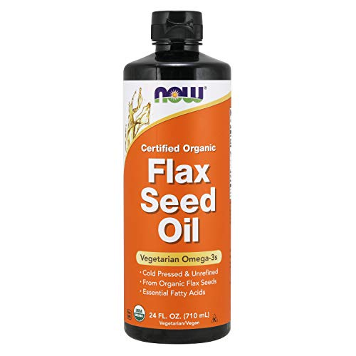 NOW Supplements, Certified Organic Flax Seed Oil Liquid, Cold-Pressed and Unrefined, 24-Ounce