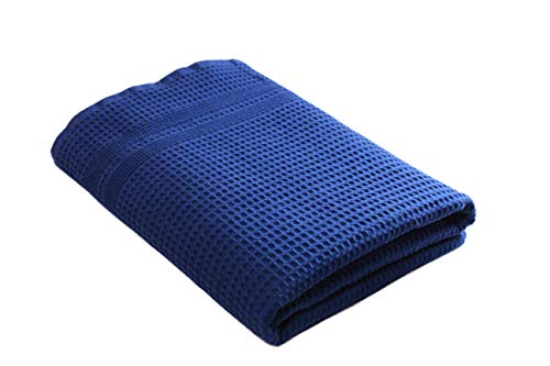 Gilden Tree Premium Bath Towel 100% Natural Cotton Quick Dry Waffle Weave Lint Free Soft Luxurious Fabric Solid Colors Oversized Thin Cloth Fade Resistant (Indigo)