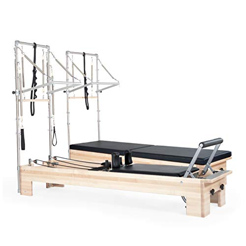 balanced body Studio Reformer with Tower, Mat System, and Revo Foot Bar, Black Upholstery