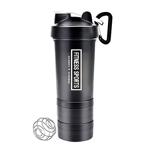 YIXIAN Protein Shaker Bottle 3 in 1 Portable Shaker Cup,100% BPA-Free Leak Proof Sport Mixer Fitness Sports Nutrition Supplements Non-Slip Mix Shaker Cup 17oz 500ml (Black)